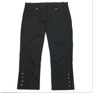 Theory Black Stretch Cotton Capri Trousers